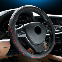 Wholesale Steering Wheel Covers with Genuine Leather diameter cm Spoke Wheel Healthy Material Car Styling Red blue Colorful Free shiping