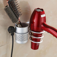 bathroom holders - New Wall Mounted Hair Dryer Drier Comb Holder Rack Stand Set Storage Organizer New Excellent Quality Worldwide Store