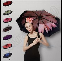 flower umbrella - 7 design LJJK257 Trendy Women Windproof Anti UV Sun Rain Flower Princess Folding Umbrella Windproof Anti UV Sun Rain Folding Umbrella