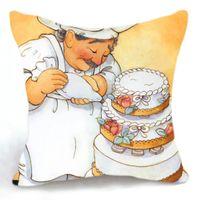 baker case - Retro Design Cushion Cover Pillow Case Chef Baker Cake Making Home Decor