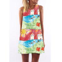 Wholesale Hot girl women lady colorful doodle stripe contrast color print sundress tank dress loose vest dress