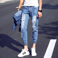 best quality jeans for men - Best quality Hot sale fashion jeans new ripped hole jeans for men cross pants blue color Men trouser pants