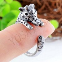 Wholesale Antique Gold Ancient Silver Rings Giraffe Animal Wrap Ring for men and Girls Unique Trendy Retro Vintage Animal Jewelry