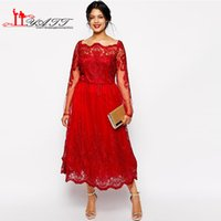 Wholesale New Plus Size Lace Mother of the Bride Dresses illusion Bateau Neck Long Sleeves Tea Length Women Formal Evening Party Gowns