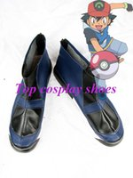 ash ketchum shoes - Freeshipping anime Ash Ketchum Dark Blue Cosplay Boots shoes custom made Hand made for Halloween Christmas party shoes