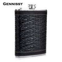best alcohol - GENNISSY Personalized Alcohol Flask oz Fluted Leather Stainless Steel Portable Hip Flask Best Valentine s Day Gift