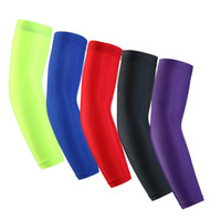 Wholesale New LYCRA Basketball Armband Sports Outdoors Bike Riding Sunscreen Cuff Quick Drying Breathable Elastic Elbow Simple Solid Color