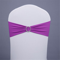 Wholesale wedding decorations chair sashes chair sash spandex lycra elastic chair band with buckle chair bands for party weddings banquet new