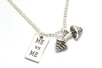 barbell fitness - 12pcs Motivational Necklace Barbell Jewelry Dumbbell Necklace Fitness Quote Inspiration Gym JEWELRY