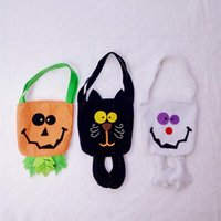 Wholesale halloween treat bags candy bag black cat or pumpkin pattern for option non woven fabrics material