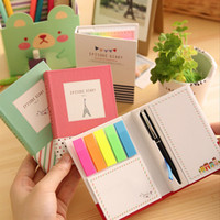 Wholesale creative hardcover memo pad post it notepad sticky notes kawaii stationery diary notebook office school supplies pen