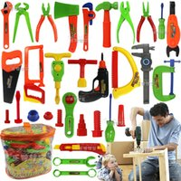 Wholesale 34pcs Baby educational toys Tool Kit children play house classic plastic toy kids tools hammer toolbox Simulation tool kit toys