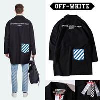 Wholesale Off White Jacket Men Women High Quality Off White Virgil Abloh Windbreaker Long Trench Coat Retro Striped Off White Jacket