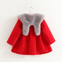 Wholesale Hug Me Girls Woolen Fur Coat Cloak Cape Outwear Christmas Kids Autumn Fashion Knitting Cardigan Warm Girls Coat AA