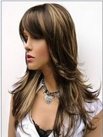 best blonde highlights - Best Seller Vogue Wig Feathery Long Layered Wig Brown with Blonde Highlight Fashion Charming Style Synthetic Cheap Hair Wigs