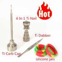 Wholesale best price GR2 Domeless Titanium Nail Ti Carb Cap with Enial Dab and Silicone Jar of set