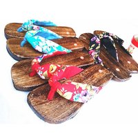 geta - High Quality Summer Style Female Sandals Slippers Shoes Clogs Floral Japanese Geta Wooden Flip Flops Size TX0342