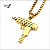 Wholesale Hot Sale Charm Necklaces Mens Hip Hop Jewelry Gangsta Pendant Brand Gun Shape Design Punk Rock Fashion Filling Pieces Chains CM Long
