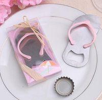 Wholesale Pink Blue Home Creative Party Favor Gift Flip Flop slipper design Bottle Opener Wedding Bridal Shower Party Favor Gift