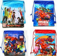 Wholesale fashion big hero baymax dawstring backpack cartoon children s school bag party gift G303