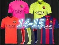 Wholesale 14 barcelona messi Suarez Neymar JR Iniesta jersey kit socks