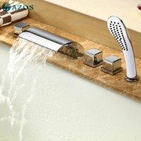 Wholesale AZOS Bathtub Faucets Chrome Polished Deck Mount Hot Cold Mixer Sprayer Showerheads Handles Diverter Valves YGWJ012