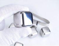 al por mayor glaciares de hielo-100pcs / lot DHL Fedex libera el envío El whisky del acero inoxidable empiedra la piedra del refrigerador del glaciar de la jabonosa de los cubos de hielo