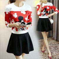 adult space suit - 2016 spring new Slim printing space cotton long sleeved sweater Mickey suit skirt Korean female