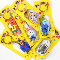 Wholesale 2016 NEW FREE DHL Cartoon Zootopia Judy Nick Flexible glue kids children key chains toy Keys Rings