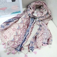 Wholesale Unique Fashion Womens Scarves Viscose Print Shawl with Floral New Brand Spring and Autumn Wrap for Women dy J122