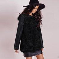 Wholesale New Arrival Black Faux Leather Fur Coats For Women Fashion Patchwork Winter Parka Coat PU Long Sleeve Jacket Outwear