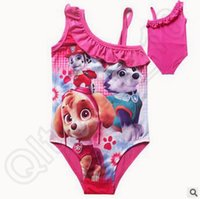 baby tutu swimsuit - 20lot CCA3655 New Arrival Designs Kids Cartoon Patrol Dog Girls TUTU Swimwear Baby Lace One Piece Dog Paw Swimsuit Little Girls Beachwear