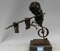 abstract bronze sculptures - 10 quot Chinese Western Art sculpture Bronze Marble Abstract Man Flute Statue