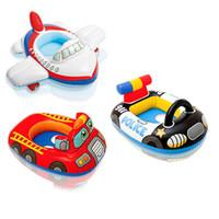 Forma divertida del coche policía Natación Anillo BabyFire camiones Piscina del niño del asiento del anillo del flotador Aid Trainer PlanFloat agua para niños de 0-3 años