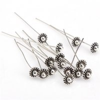 Wholesale 20 Stainless Steel Silver Plated Vintage Head Pins Findings mm