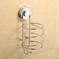 bathroom wire shelving - Bathroom Wall Mount Classic Hair Dryer Shelf Stainless Steel Dryer Strong Suction Cup Holder Storage Stand Wire Shelving