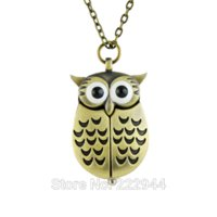 Wholesale Unique antique fashion alloy vivid owl pocket watches pendent necklace pocket compass watch pocket stop watch