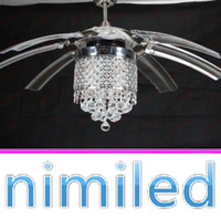 Wholesale nimi836 cm Knob Switch Remote Control Invisible Clear Acrylic Crystal Restaurant Chandelier Fan Lights LED Lighting Ceiling Pendant Lamps