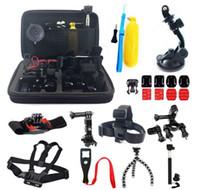 Wholesale Go Pro accessories hero video camera with large bag wrist belt chest belt headband etc set of gopro xiaoyi camera accessories