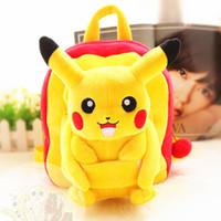 baby soft toys wholesale - New Poke mon go Baby boy Girl Backpack Pikachu Soft Plush Toys Backpack Kid kindergarten Nursery School Bag