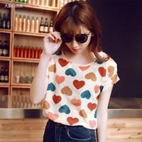 Wholesale New Fashion Women Loose Animal Printed Chiffon Shirts Autumn Summer Heart Sale T Shirt XFS3 T Shirt An