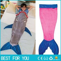 Cheap Mermaid Blanket Towel Envelopes For 5-12T Kids Soft Animal Sleeping Bag Pajamas Overalls Children Quilt Velvet Shark Blanket