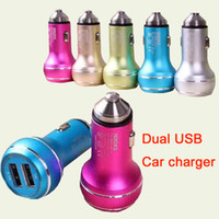 Wholesale Mini USB Car Charger Portable Charger Colorful Mini Car Charge LED Light Universal Adapter For iPhone iPad Samsung S7 DHL CAB146