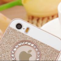 al por mayor gato iphone5-Un CAT Para el diamante de Bling de iphone5 / 5s / se Bling mueve hacia atrás difícilmente el caso, agujero de moda de la manera para el caso de brillo de la INSIGNIA de la marca de fábrica de Apple para el iphone 5/6