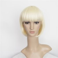 Wholesale 2016 New Hair Wigs Synthetic Hair Products inch Short BOB Cut Straight Hair Style Lace Front Cap a Flaxen with Blonde Color