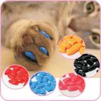 Cheap 20Pcs Lot Colorful Soft Pet Dog Cats Kitten Paw Claws Control Nail Caps Cover Pet Accessories Size XS S M L XL XXL H210732