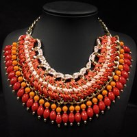 airmail delivery - New Design Brazil Hot Selling China Post Airmail Delivery Bohemia Orange Color Beaded Necklace Women Bib Statement Chunky Collar