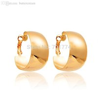 big bold earrings - New Stunning Polished Wide Hoop Earrings K Yellow Gold Plated Big Circle Bold Statement Fashion Women Jewelry Wear To Prom