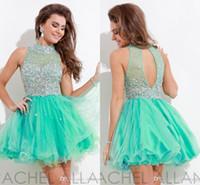 Wholesale Rachel Allan Sexy Beads Rhinestone Sheer Back Mint Green Mini A line Homecoming Dresses Elegant Graduation Dress