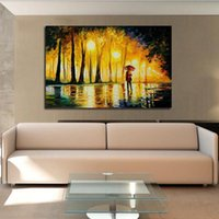 Wholesale Large Handpainted Abstract Modern Wall Painting Rain Tree Road Palette Knife Oil Painting On Canvas Wall Decor Home Decoration